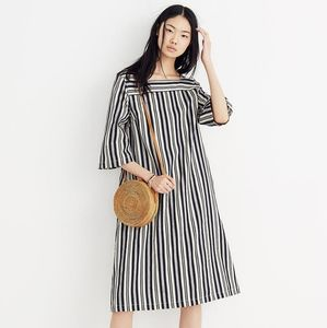Madewell Rare Square Neck Dress in Evelyn Stripe